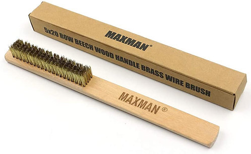 MAXMAN Brass Wire Brush Wood Handle Soft Brass Bristle Brush Wood Handle