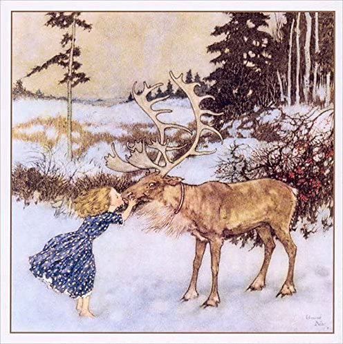 "Vintage ""Gerda and the Reindeer"" Christmas Cards \ 5 Cards and Envelopes"