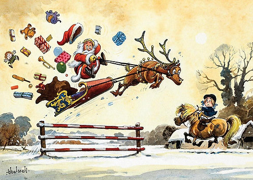 Thelwell Horse and Pony Christmas 1 Card. Showjumpng Santa