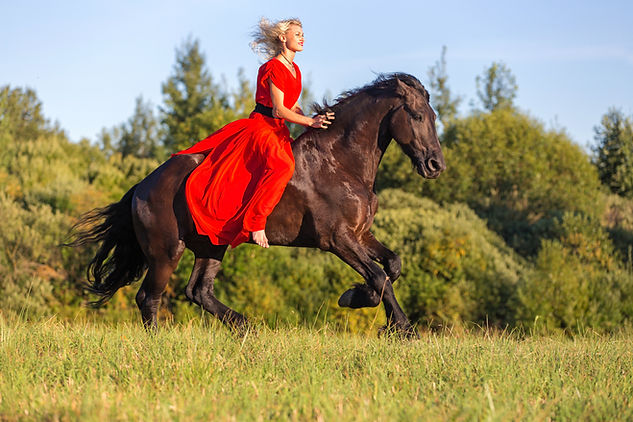 Beautiful woman riding on a free horse..