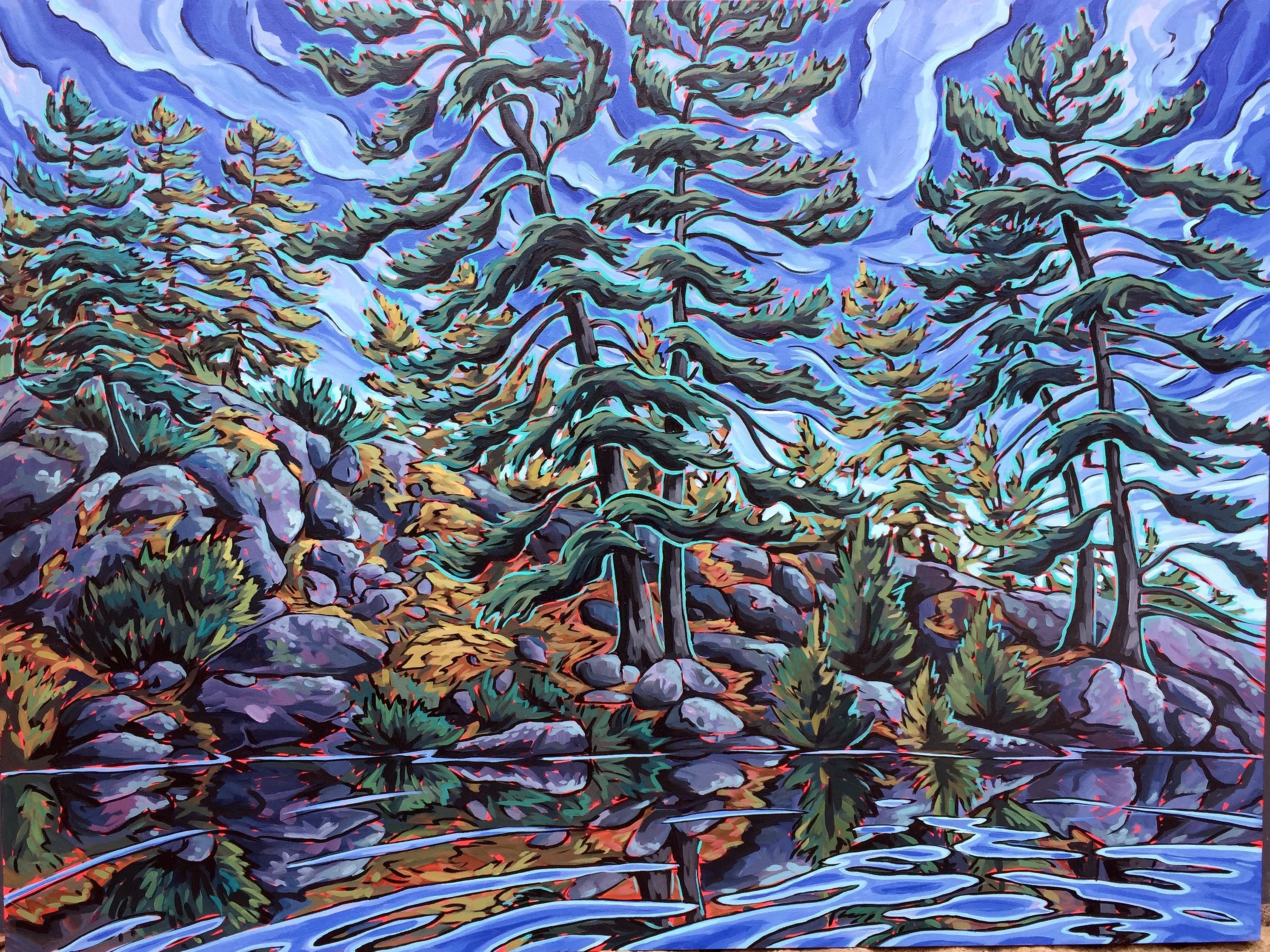 Pompadour Island Pines II, 36x48
