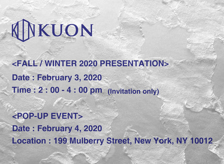 KUON FALL/WINTER 2020 COLLECTION SCHEDULE