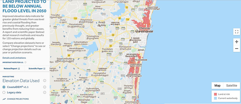 Global Warming & Climate Change affecting Chennai and other Indian Cities based on the Climate Central Report. CHENNAI AND OTHER CITIES AFFECTED BY SEA LEVEL RISE BY 2050.