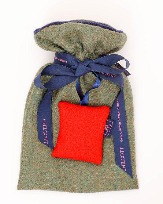 Alpaca Super Soft Hot Water Bottles - Forest Green / Red