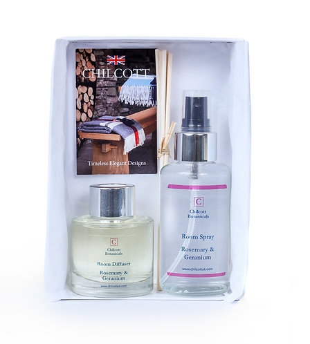 Diffuser and Room Spray Gift Set : Rosemary and Geranium