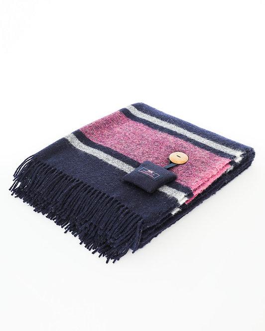 Britannia Blanket - Navy with a cream and fuchsia stripe