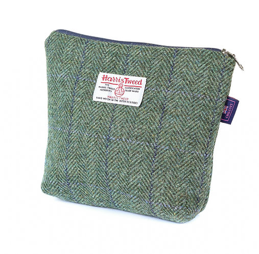 Kit Bag - Chilcott Harris Tweed® Green Herringbone Lilac Overcheck