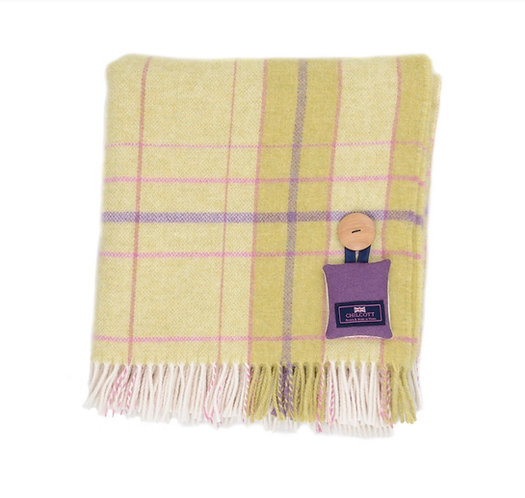 Merino Lambswool Throw - Citrus, Lavender and Fucshia Pink