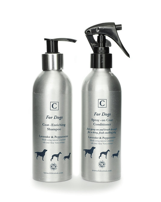 Dog Shampoo and Spray-on Coat Conditioner Set: Lavender and Peppermint