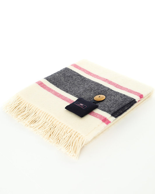 Britannia Blanket - Cream with a navy and fuchsia stripe
