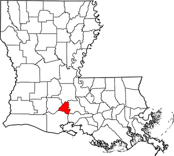 Lafayette Parish location in relation to the State of Louisiana