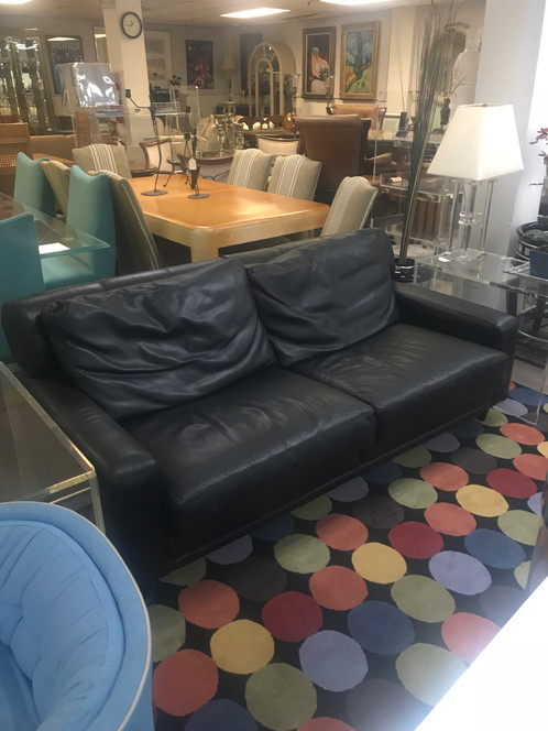 Italian Black Leather Sofa Extremely Comfortable 6ft W X 36 D