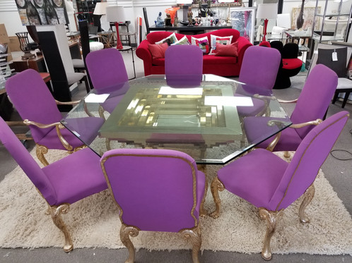 Brass And Glass Dining Table - Hexagon glass dining table