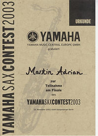 Yamaha European Saxcontest certificate