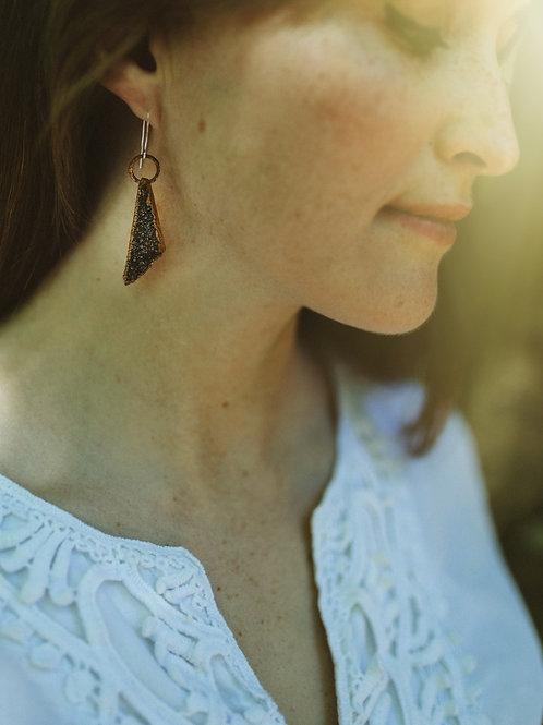 Dark Purple Druzy Triangle Earrings
