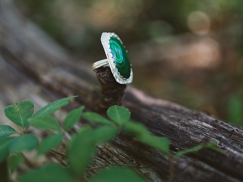 Malachite in Sterling Silver Ring