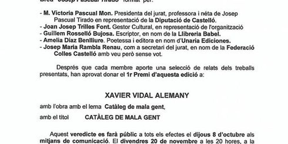 """Entrega del Premi """"Josep Pasqual Tirado"""" de narrativa"""