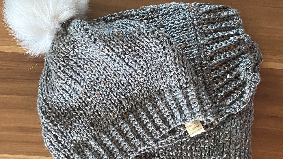 Grey Tweed Hat & Scarf Set