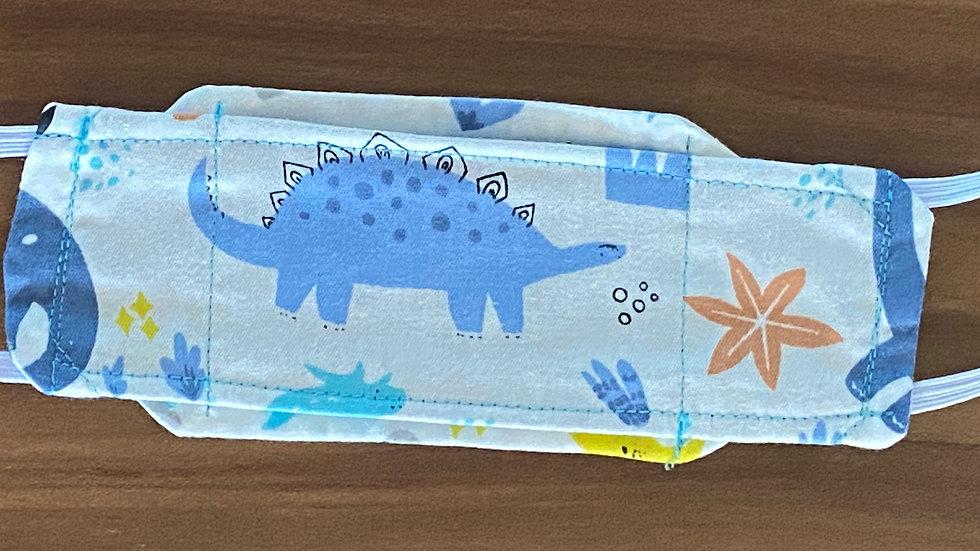 Child Size Mask - Light Blue Dinosaurs