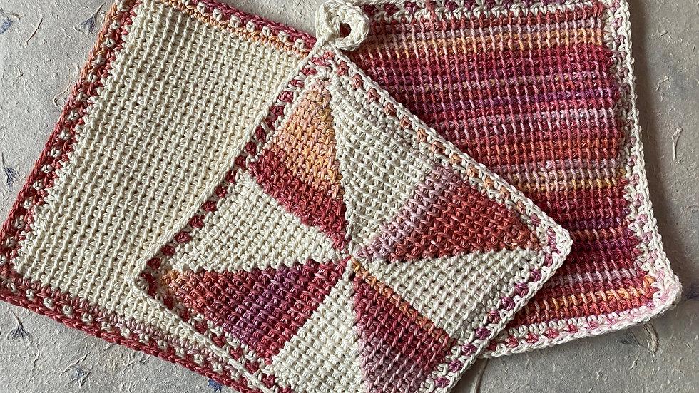 Tunisian Crochet Dishcloth/PotholderSet