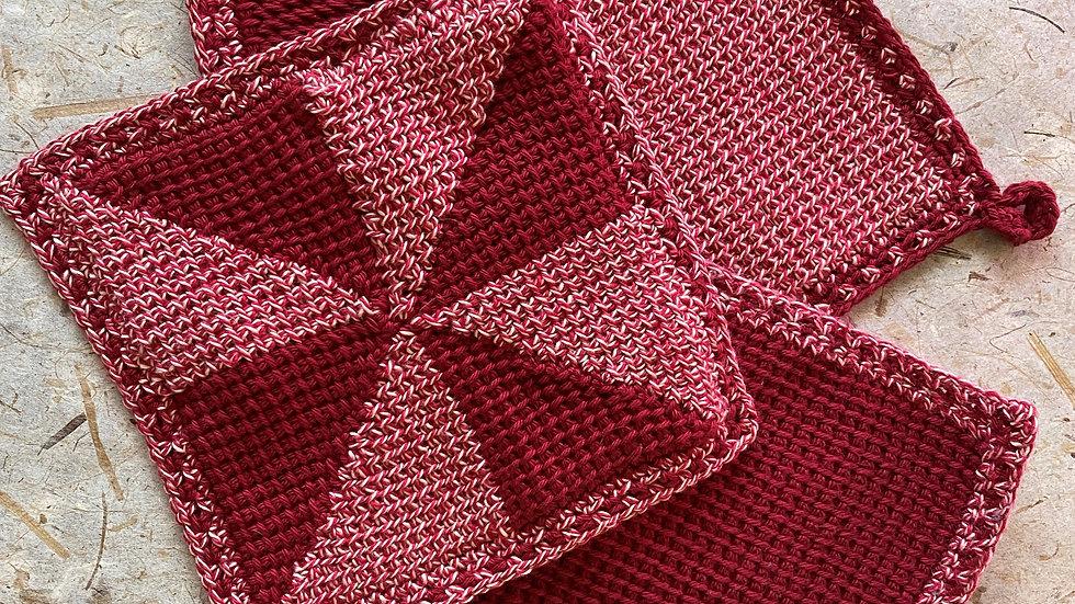 Tunisian Crochet Dishcloth/Potholder 4-Pack
