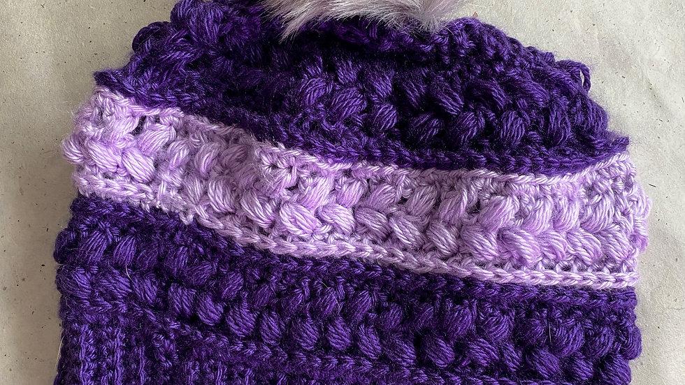 Purple Hat w/Faux Fur Pom Pom
