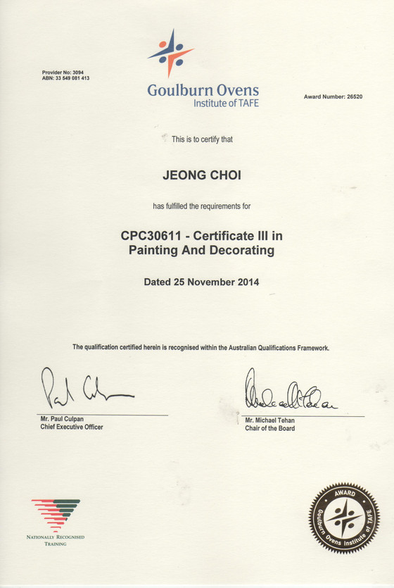 Certificate for painting & decorating
