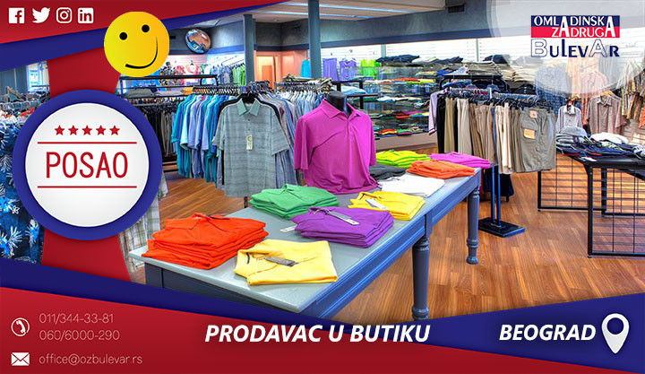 Poslovi preko omladinske zadruge, Omladinska zadruga, Prodavac, Izlagac robe, Prodavci u buticima, Prodavac u butiku