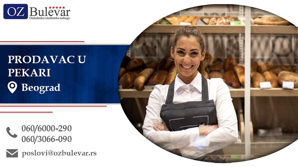 Prodavac u pekari, Omladinska zadruga Bulevar, Poslovi, Oglasi za posao, Beograd