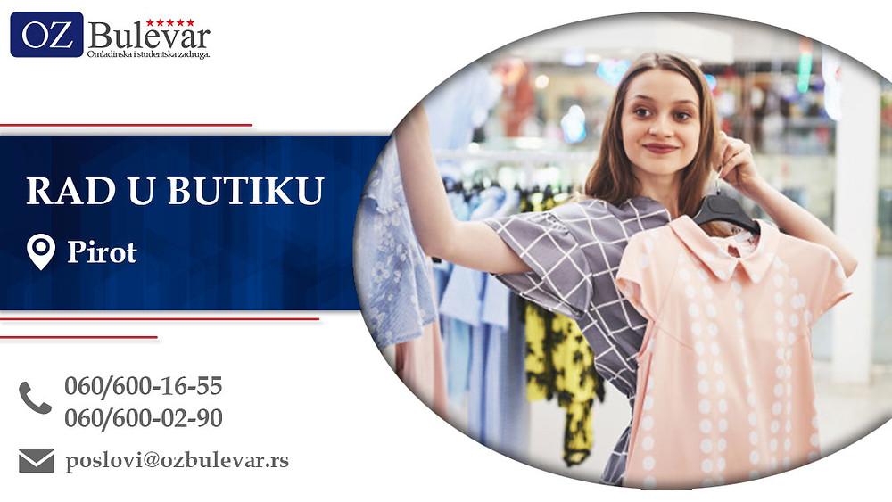 Rad u butiku, Omladinska zadruga Bulevar, Poslovi, Oglasi za posao, Pirot