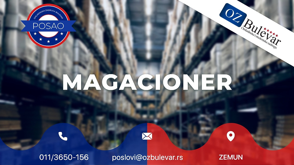 Omladinska zadruga Bulevar, Oglasi za posao, Studentski posao, Magacioner Zemun
