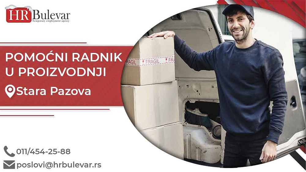 HR Bulevar, Oglasi za posao, Pomoćni radnik u proizvodnji, Stara Pazova,  Srbija