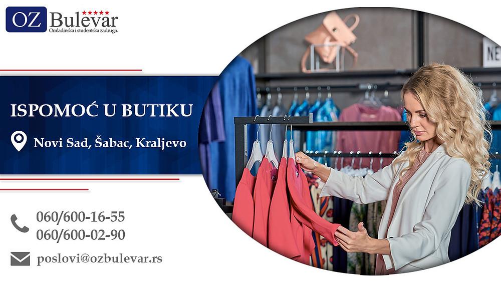 Ispomoć u butiku, Omladinska zadruga Bulevar, Poslovi, Oglasi za posao, Novi Sad, Šabac, Kraljevo