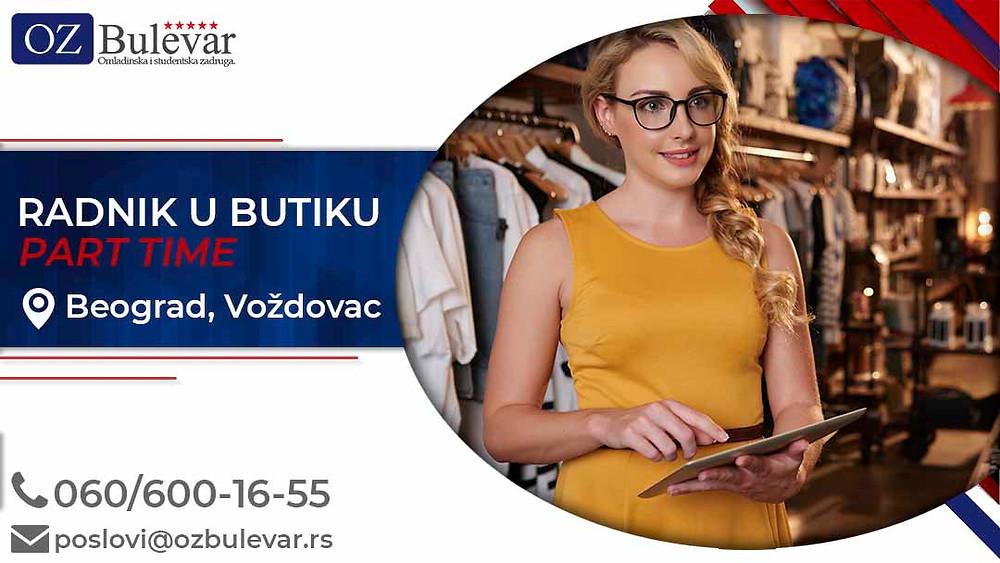 Omladinska zadruga Bulevar; posao u Beogradu;  Pomoćni radnik u butiku, poslovi za studente; Oglasi za posao