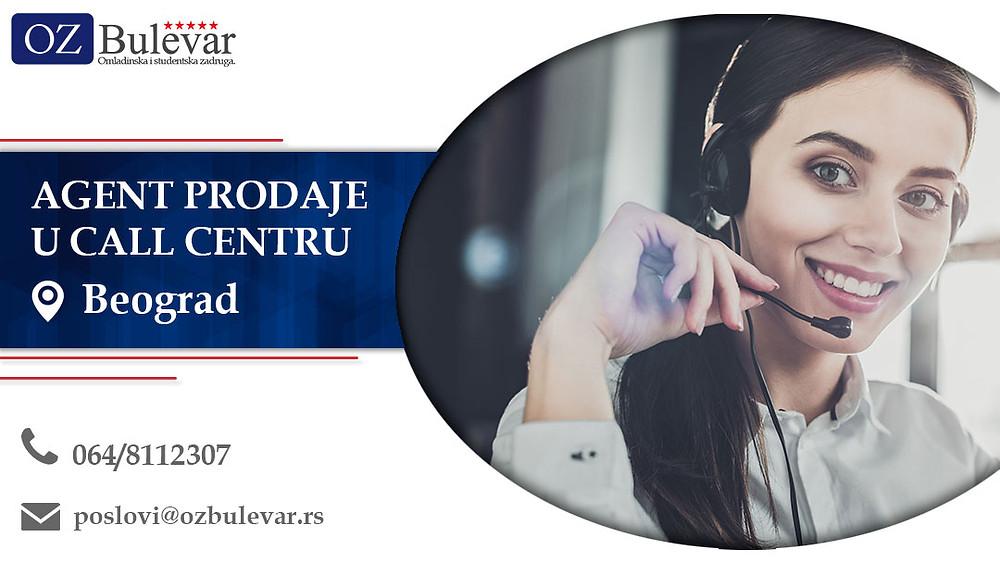 Agent prodaje u call centru, Omladinska zadruga Bulevar, Poslovi, Oglasi za posao, Beograd
