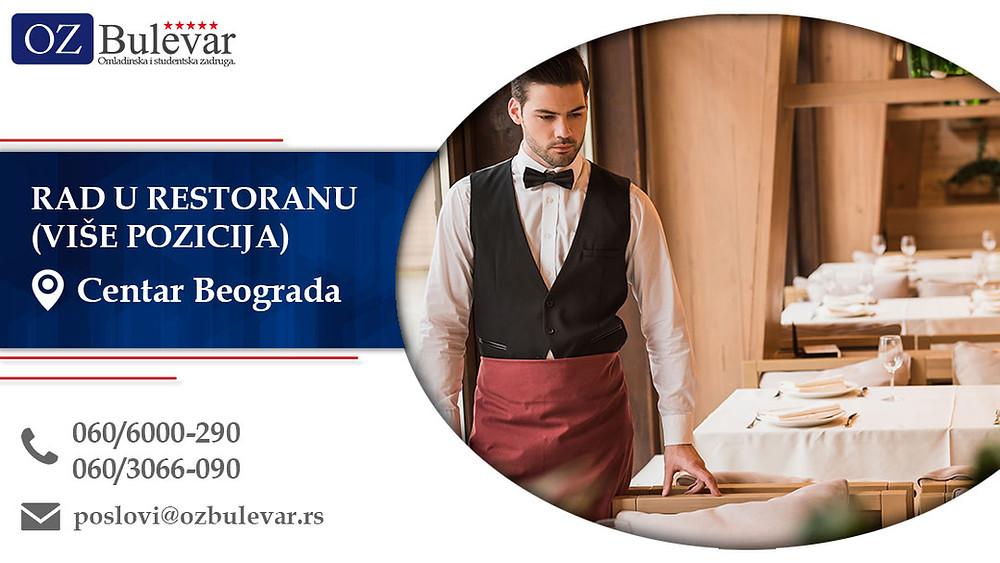 Rad u restoranu (više pozicija), Omladinska zadruga Bulevar, Poslovi, Oglasi za posao, Beograd