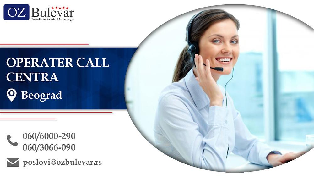 Operater call centra, Omladinska zadruga Bulevar, Poslovi, Oglasi za posao, Beograd