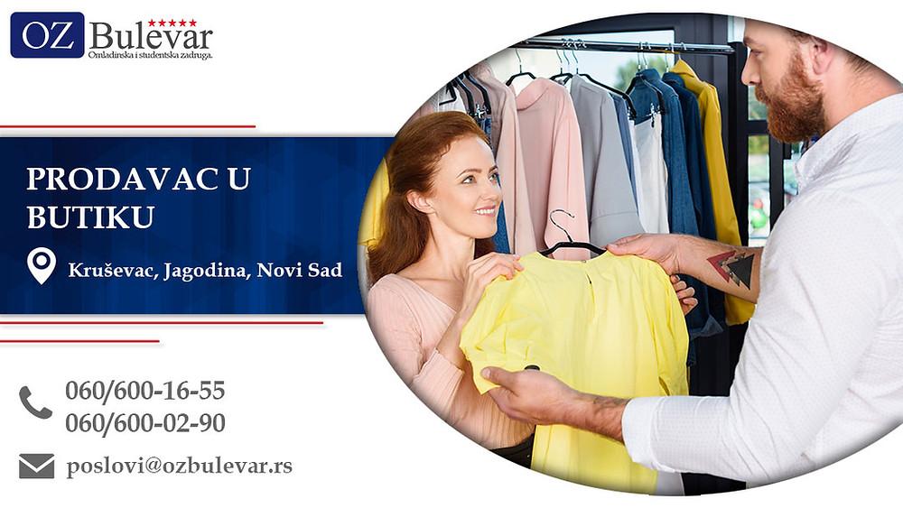 Prodavac u butiku, Omladinska zadruga Bulevar, Poslovi, Oglasi za posao, Kruševac, Jagodina, Novi Sad