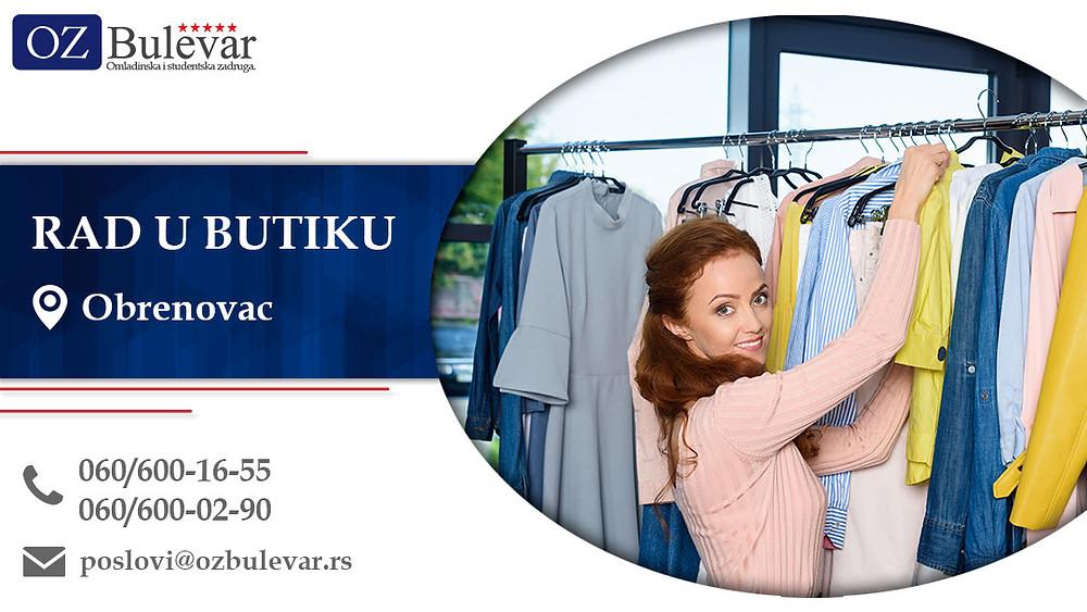 Ispomoc u butiku, Omladinska zadruga Bulevar, Poslovi, Oglasi za posao, Obrenovac