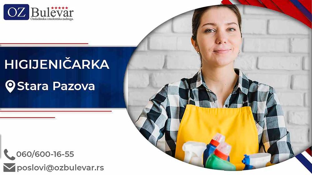 Omladinska zadruga Bulevar; posao u Staroj Pazovi, Higijeničarka, poslovi za studente; Oglasi za posao higijeničarka
