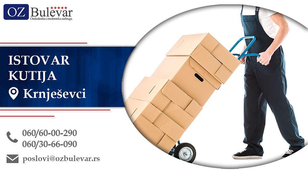 Istovar kutija, Omladinska zadruga Bulevar, Poslovi, Oglasi za posao, Krnješevci