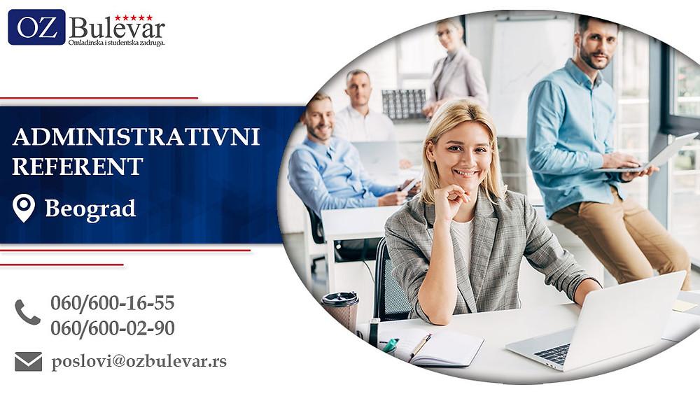Administrativni referent, Omladinska zadruga Bulevar, Poslovi, Oglasi za posao, Beograd