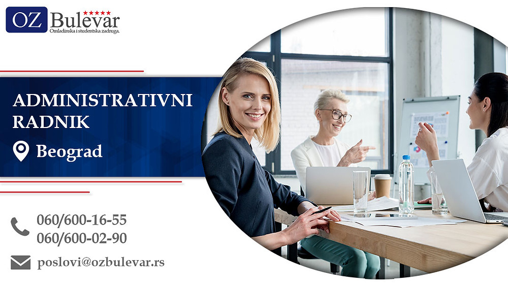 Administrativni radnik, Omladinska zadruga Bulevar, Poslovi, Oglasi za posao, Beograd