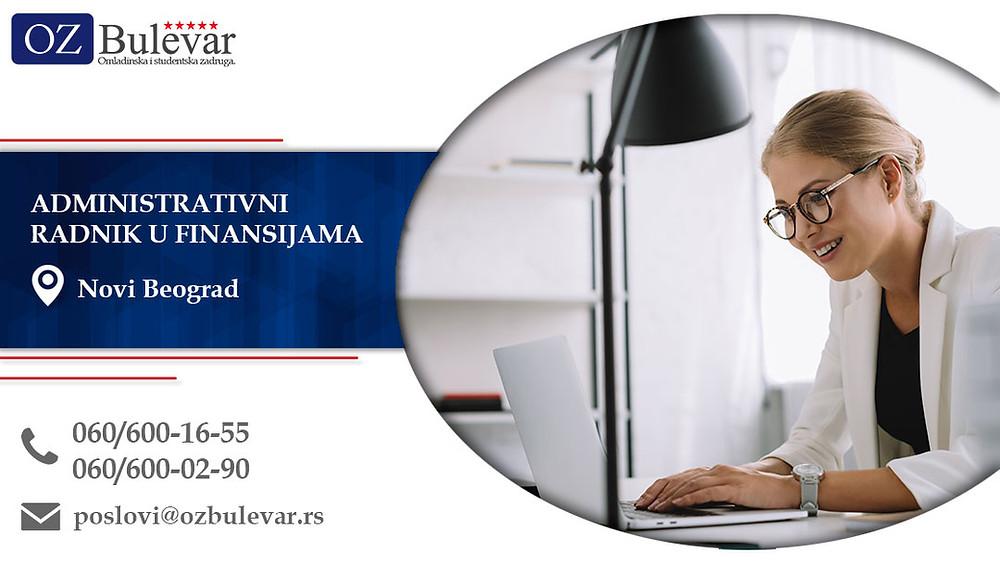 Administrativni radnik u finansijama, Omladinska zadruga Bulevar, Poslovi, Oglasi za posao, Novi Beograd