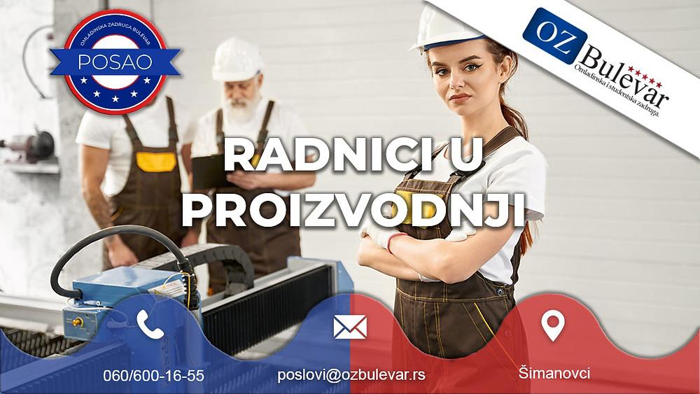 Omladinska zadruga Bulevar, Oglasi za posao, Radnici u proizvodnji, Šimanovci