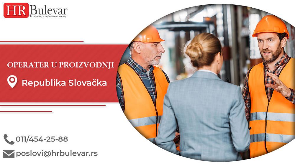 HR Bulevar, Republika Slovačka, Poslovi, Operater u proizvodnji, Oglasi za posao, Zemun, Republika Slovačka