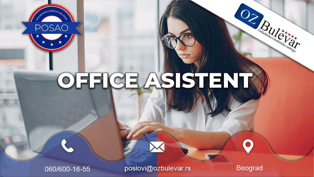 Omladinska zadruga Bulevar, Beograd, Office assistant, Asistent, Studentski posao