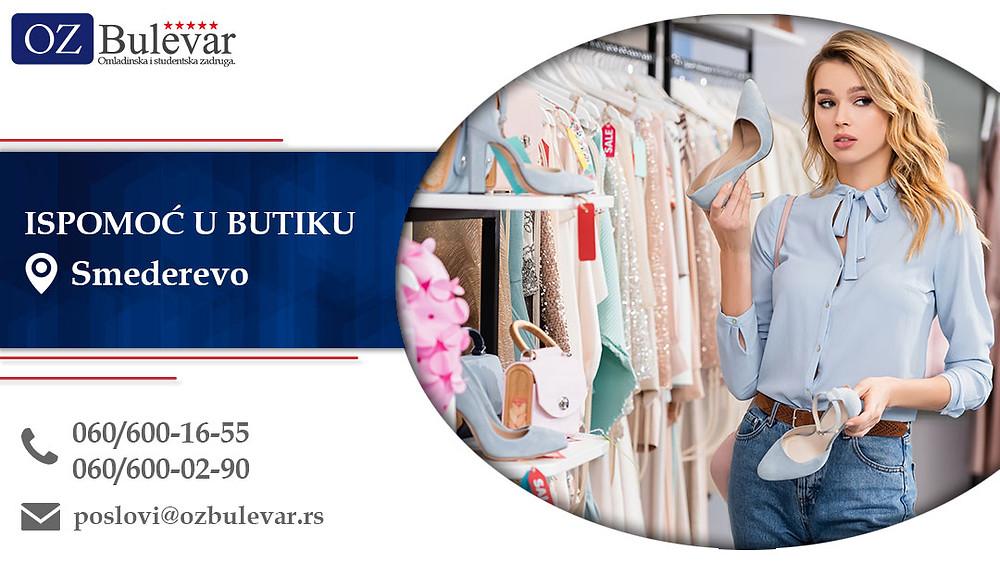 Ispomoć u butiku, Omladinska zadruga Bulevar, Poslovi, Oglasi za posao, Smederevo