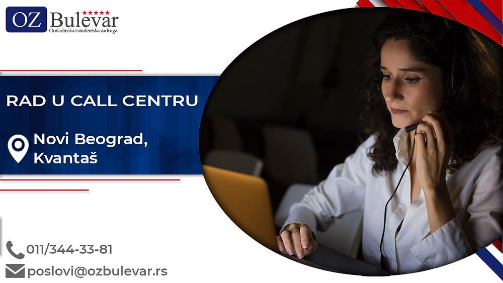 Omladinska zadruga Bulevar; posao na Novom Beogradu, Rad u call centru, poslovi za studente; Oglasi za posao rad u call centru