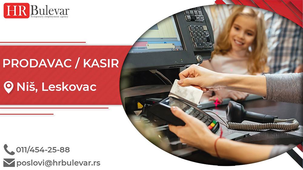Agencija za zapošljavanje, Oglasi za posao, Prodavac/Kasir, Niš, Leskovac , Srbija